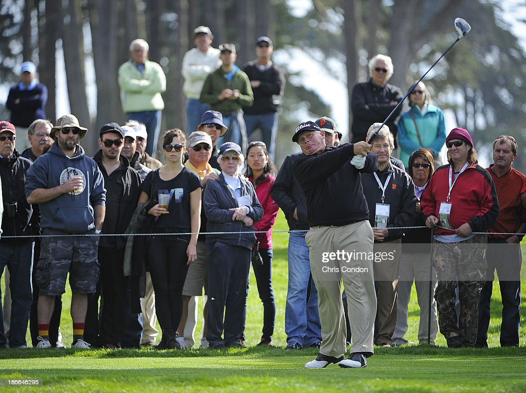 Peter Senior of Australia tees off on the 9th hole during the third round of the Charles Schwab Cup Championship at TPC Harding Park on November 2, 2013 in San Francisco, California.