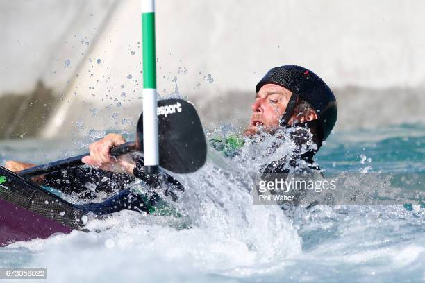 Peter Shea of New Zealand competes during the Canoe Slalom as part of the 2017 World Masters Games at Wero White Water Park on April 26 2017 in...