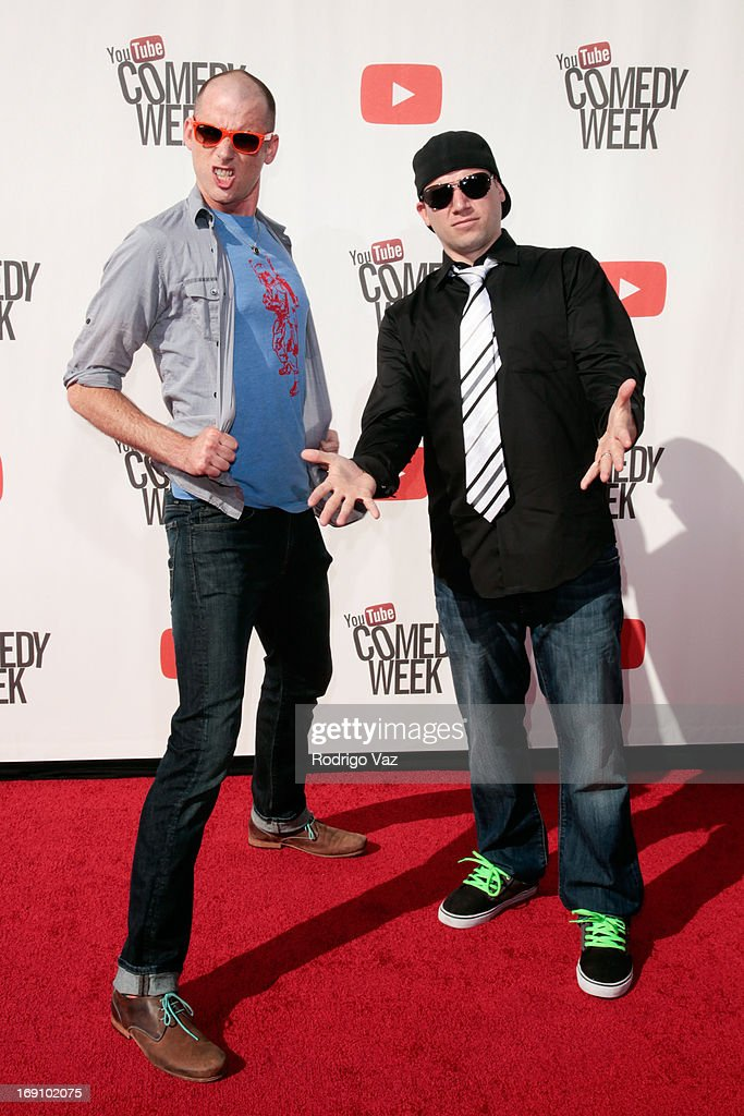 Peter Shukoff (Nice Peter) (L) and Lloyd Ahiquist (EpicLLOYD) of Epic Rap Battles of History arrive at the YouTube Comedy Week Presents 'The Big Live Comedy Show' at Culver Studios on May 19, 2013 in Culver City, California.