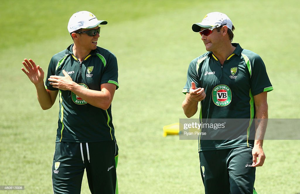 <a gi-track='captionPersonalityLinkClicked' href=/galleries/search?phrase=Peter+Siddle&family=editorial&specificpeople=2104718 ng-click='$event.stopPropagation()'>Peter Siddle</a> and <a gi-track='captionPersonalityLinkClicked' href=/galleries/search?phrase=Ryan+Harris+-+Cricket+Player&family=editorial&specificpeople=13801655 ng-click='$event.stopPropagation()'>Ryan Harris</a> of Australia warm up during an Australian Nets Session at The Gabba on December 16, 2014 in Brisbane, Australia.