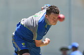 Peter Siddle bowls during an Australian nets session at The Gabba on November 3 2015 in Brisbane Australia