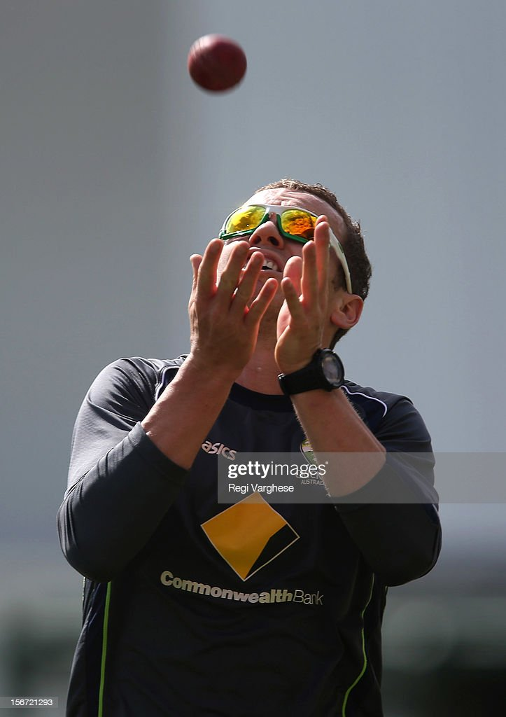 Peter Siddle catches the ball during an Australian training session at Adelaide Oval on November 20, 2012 in Adelaide, Australia.