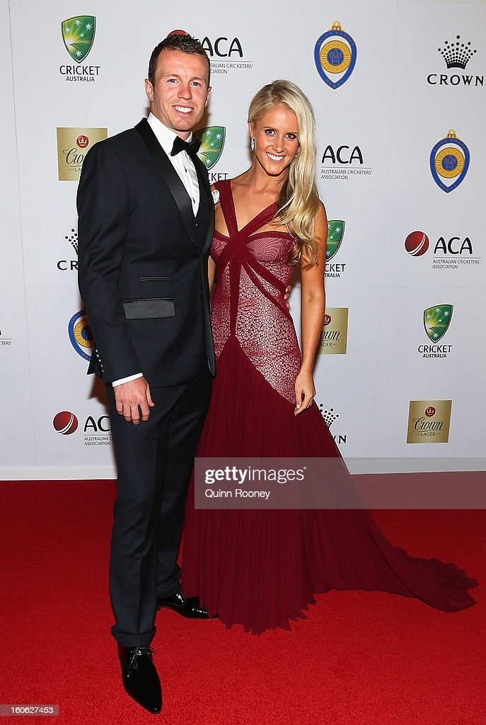 Peter Siddle of Australia and his partner Anna Weatherlake arrive at the 2013 Allan Border Medal awards ceremony at Crown Palladium on February 4, 2013 in Melbourne, Australia.