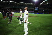 Peter Siddle of Australia and Mitchell Starc of Australia react after day three of the Third Test match between Australia and New Zealand at Adelaide...