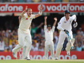 Peter Siddle of Australia appeals for and gets his hattrick wicket that of Stuart Broad of England during day one of the First Ashes Test match...