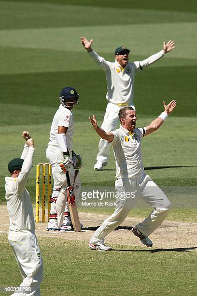 Peter Siddle of Australia appeals for the wicket of Karn Sharma of India during day four of the First Test match between Australia and India at...