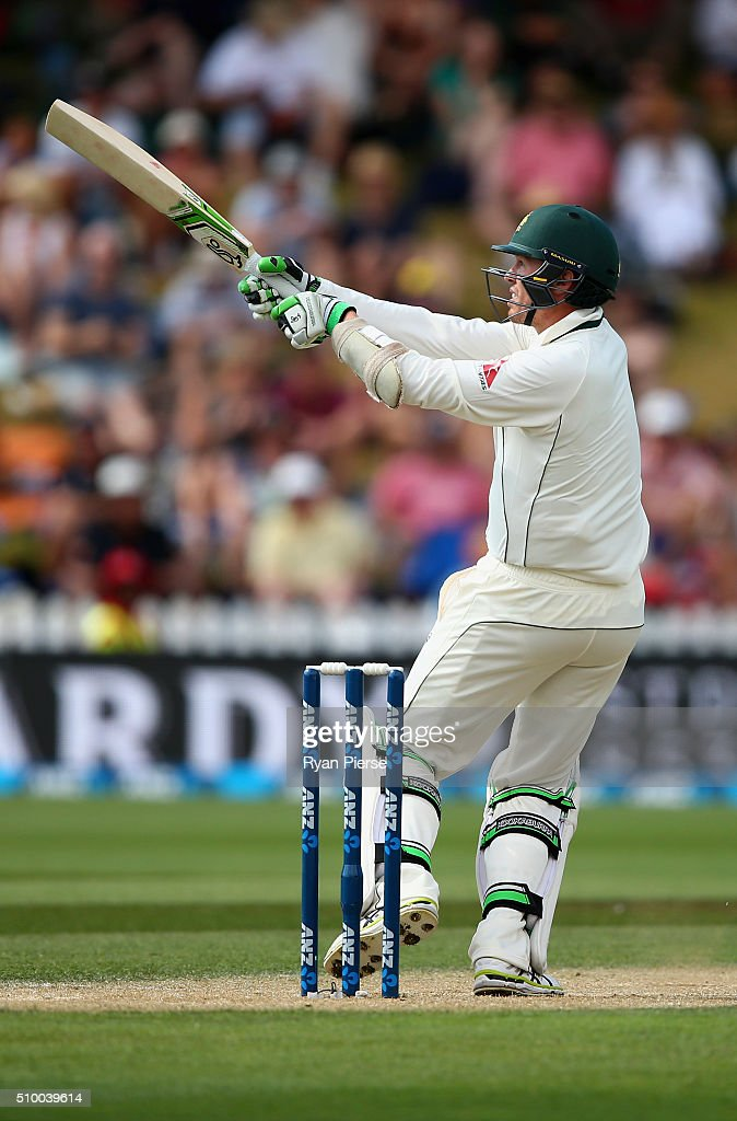 <a gi-track='captionPersonalityLinkClicked' href=/galleries/search?phrase=Peter+Siddle&family=editorial&specificpeople=2104718 ng-click='$event.stopPropagation()'>Peter Siddle</a> of Australia bats during day three of the Test match between New Zealand and Australia at Basin Reserve on February 14, 2016 in Wellington, New Zealand.