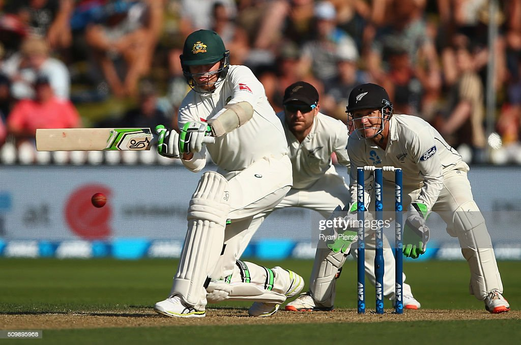 <a gi-track='captionPersonalityLinkClicked' href=/galleries/search?phrase=Peter+Siddle&family=editorial&specificpeople=2104718 ng-click='$event.stopPropagation()'>Peter Siddle</a> of Australia bats during day two of the Test match between New Zealand and Australia at Basin Reserve on February 13, 2016 in Wellington, New Zealand.