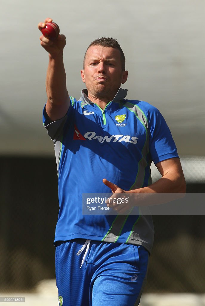 <a gi-track='captionPersonalityLinkClicked' href=/galleries/search?phrase=Peter+Siddle&family=editorial&specificpeople=2104718 ng-click='$event.stopPropagation()'>Peter Siddle</a> of Australia bowls during an Australian nets session at Basin Reserve on February 11, 2016 in Wellington, New Zealand.