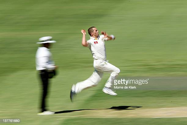Peter Siddle of Australia bowls during day three of the Fourth Test Match between Australia and India at Adelaide Oval on January 26 2012 in Adelaide...