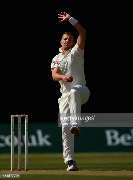Peter Siddle of Australia bowls during day three of the Tour Match between Derbyshire and Australia at The 3aaa County Ground on July 25 2015 in...