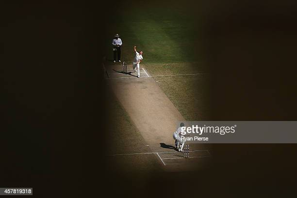 Peter Siddle of Australia bowls to Ahmed Shehzad of Pakistan during Day Four of the First Test between Pakistan and Australia at Dubai International...