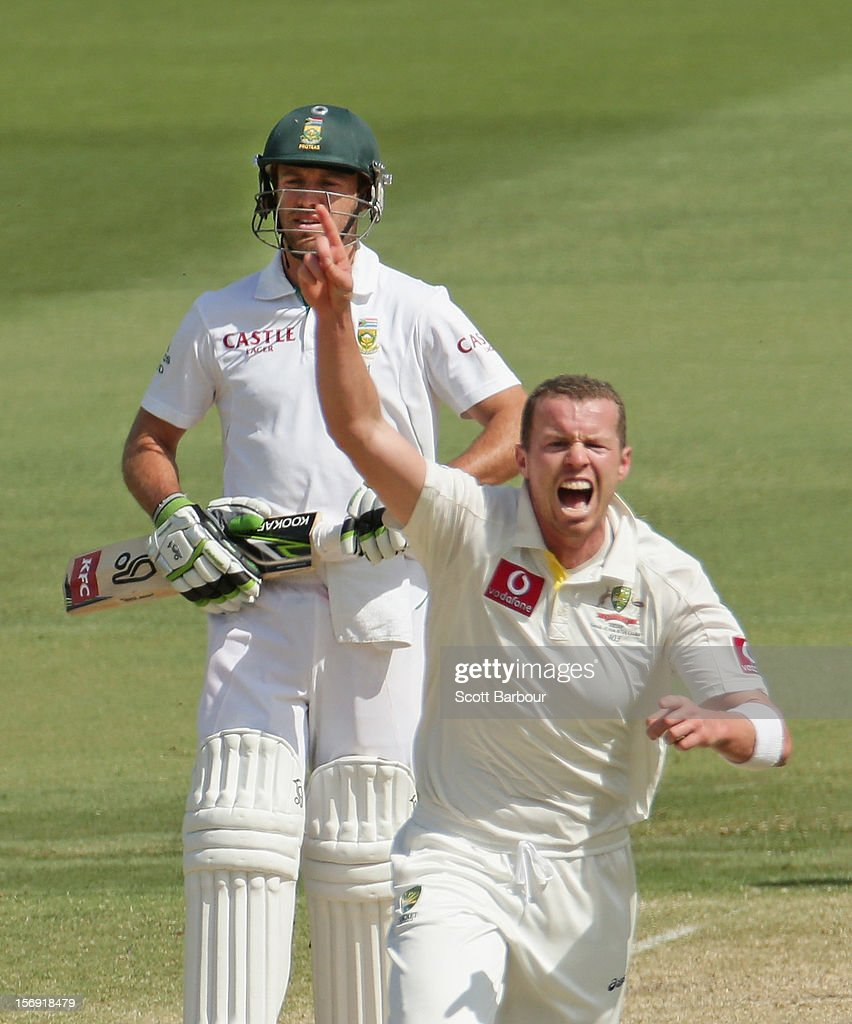 <a gi-track='captionPersonalityLinkClicked' href=/galleries/search?phrase=Peter+Siddle&family=editorial&specificpeople=2104718 ng-click='$event.stopPropagation()'>Peter Siddle</a> of Australia celebrates after dismissing Alviro Petersen of South Africa during day four of the Second Test Match between Australia and South Africa at Adelaide Oval on November 25, 2012 in Adelaide, Australia.