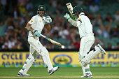 Peter Siddle of Australia celebrates after hitting the winning runs with team mate Mitchell Starc during day three of the Third Test match between...