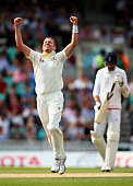 Peter Siddle of Australia celebrates after taking the wicket final of Moeen Ali of England during day four of the 5th Investec Ashes Test match...