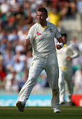 Peter Siddle of Australia celebrates after taking the wicket of Adam Lyth of England during day two of the 5th Investec Ashes Test match between...