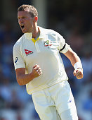 Peter Siddle of Australia celebrates after taking the wicket of Adam Lyth of England during day three of the 5th Investec Ashes Test match between...