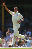 Peter Siddle of Australia celebrates after taking the wicket of Ben Stokes of England during day two of the Fifth Ashes Test match between Australia...