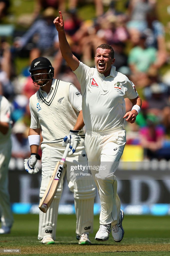 <a gi-track='captionPersonalityLinkClicked' href=/galleries/search?phrase=Peter+Siddle&family=editorial&specificpeople=2104718 ng-click='$event.stopPropagation()'>Peter Siddle</a> of Australia celebrates after taking the wicket of <a gi-track='captionPersonalityLinkClicked' href=/galleries/search?phrase=Doug+Bracewell&family=editorial&specificpeople=6680321 ng-click='$event.stopPropagation()'>Doug Bracewell</a> during day one of the Test match between New Zealand and Australia at Basin Reserve on February 12, 2016 in Wellington, New Zealand.