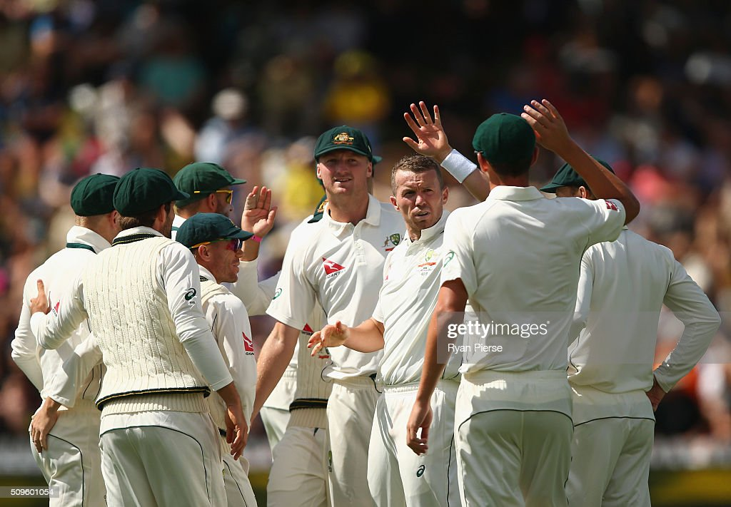 <a gi-track='captionPersonalityLinkClicked' href=/galleries/search?phrase=Peter+Siddle&family=editorial&specificpeople=2104718 ng-click='$event.stopPropagation()'>Peter Siddle</a> of Australia celebrates after taking the wicket of Henry Nicholls of New Zealand during day one of the Test match between New Zealand and Australia at Basin Reserve on February 12, 2016 in Wellington, New Zealand.