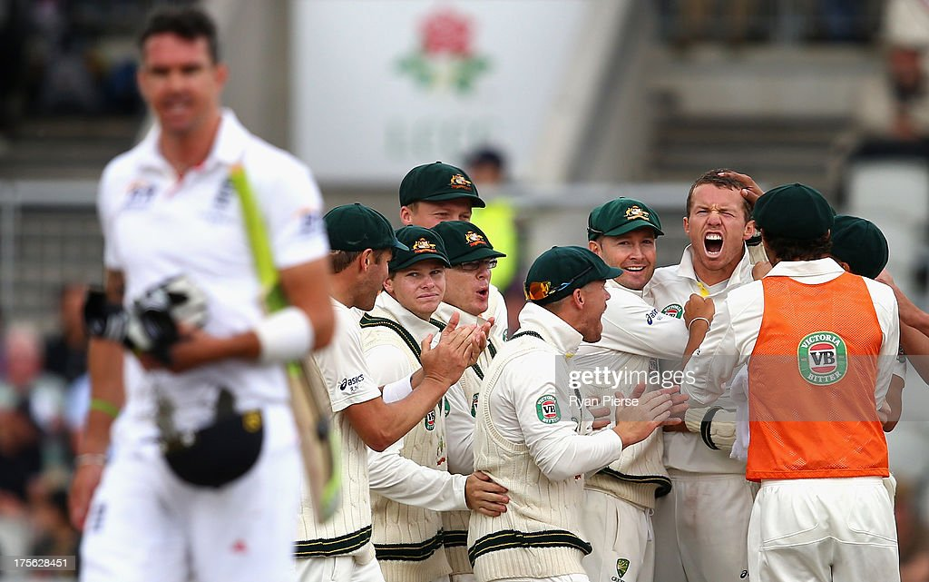<a gi-track='captionPersonalityLinkClicked' href=/galleries/search?phrase=Peter+Siddle&family=editorial&specificpeople=2104718 ng-click='$event.stopPropagation()'>Peter Siddle</a> of Australia celebrates after taking the wicket of <a gi-track='captionPersonalityLinkClicked' href=/galleries/search?phrase=Kevin+Pietersen+-+Cricket+Player&family=editorial&specificpeople=202001 ng-click='$event.stopPropagation()'>Kevin Pietersen</a> of England during day five of the 3rd Investec Ashes Test match between England and Australia at Emirates Old Trafford Cricket Ground on August 5, 2013 in Manchester, England.
