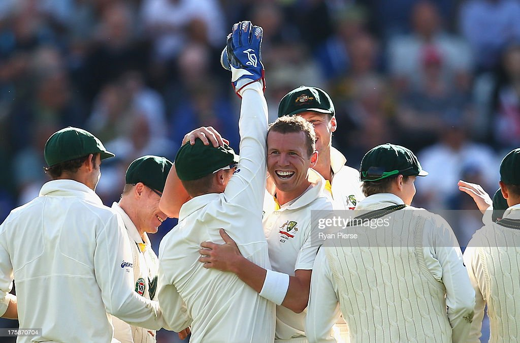 <a gi-track='captionPersonalityLinkClicked' href=/galleries/search?phrase=Peter+Siddle&family=editorial&specificpeople=2104718 ng-click='$event.stopPropagation()'>Peter Siddle</a> of Australia celebrates after taking the wicket of Matt Prior of England during day one of 4th Investec Ashes Test match between England and Australia at Emirates Durham ICG on August 09, 2013 in Chester-le-Street, England.