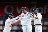 Peter Siddle of Australia celebrates after taking the wicket of Thilan Samaraweera of Sri Lanka during day five of the First Test match between...