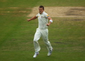Peter Siddle of Australia celebrates after taking the wicket of Stuart Broad of England during day five of Second Ashes Test Match between Australia...