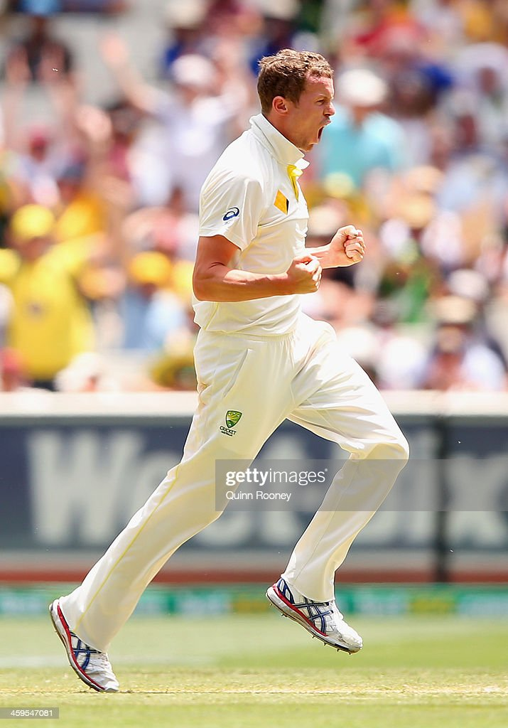 <a gi-track='captionPersonalityLinkClicked' href=/galleries/search?phrase=Peter+Siddle&family=editorial&specificpeople=2104718 ng-click='$event.stopPropagation()'>Peter Siddle</a> of Australia celebrates after taking the wicket of Michael Carberry of England during day three of the Fourth Ashes Test Match between Australia and England at Melbourne Cricket Ground on December 28, 2013 in Melbourne, Australia.
