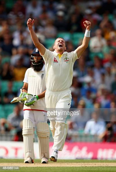 Peter Siddle of Australia celebrates after taking the wicket of Stuart Broad of England during day four of the 5th Investec Ashes Test match between...