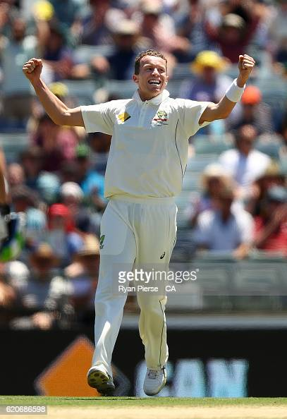Peter Siddle of Australia celebrates after taking the wicket of JeanPaul Duminy of South Africa during day one of the First Test match between...