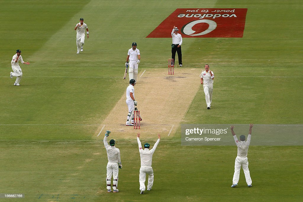 Peter Siddle of Australia celebrates dismissing AB de Villiers of South Africa for lbw during day three of the Second Test Match between Australia and South Africa at Adelaide Oval on November 24, 2012 in Adelaide, Australia.