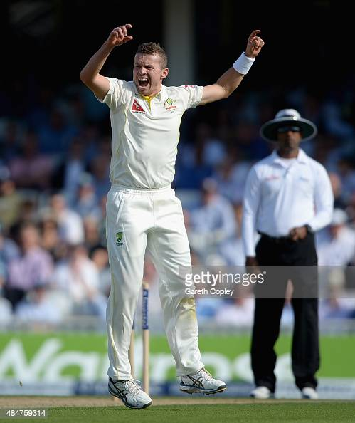 Peter Siddle of Australia celebrates dismissing Adam Lyth of England during day two of the 5th Investec Ashes Test match between England and...