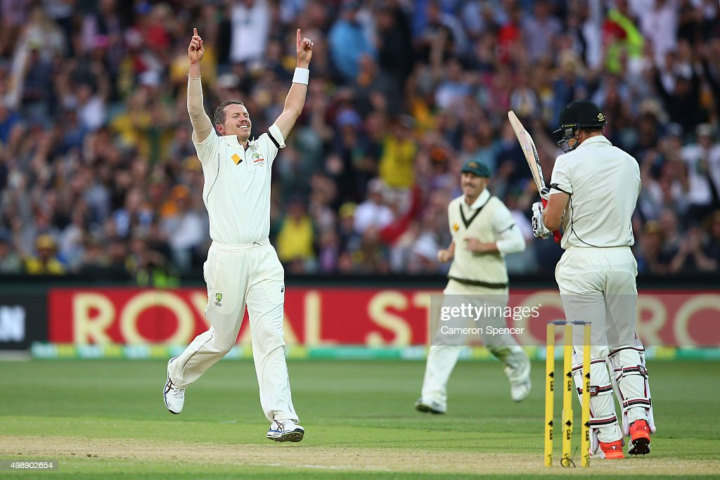 <a gi-track='captionPersonalityLinkClicked' href=/galleries/search?phrase=Peter+Siddle&family=editorial&specificpeople=2104718 ng-click='$event.stopPropagation()'>Peter Siddle</a> of Australia celebrates dismissing <a gi-track='captionPersonalityLinkClicked' href=/galleries/search?phrase=Doug+Bracewell&family=editorial&specificpeople=6680321 ng-click='$event.stopPropagation()'>Doug Bracewell</a> of New Zealand, his 200th test wicket during day one of the Third Test match between Australia and New Zealand at Adelaide Oval on November 27, 2015 in Adelaide, Australia.