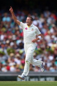 Peter Siddle of Australia celebrates dismissing Ian Bell of England during day two of the Fifth Ashes Test match between Australia and England at...