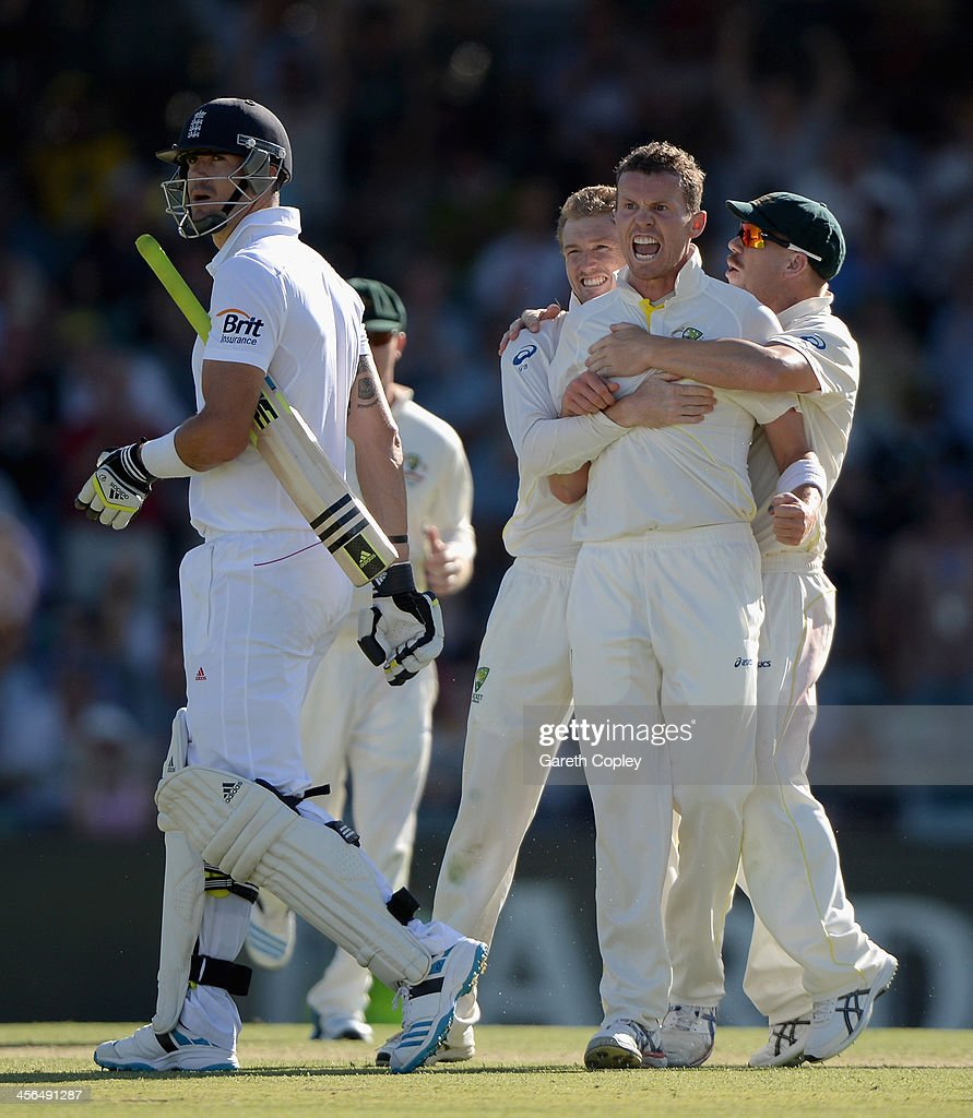 <a gi-track='captionPersonalityLinkClicked' href=/galleries/search?phrase=Peter+Siddle&family=editorial&specificpeople=2104718 ng-click='$event.stopPropagation()'>Peter Siddle</a> of Australia celebrates dismissing <a gi-track='captionPersonalityLinkClicked' href=/galleries/search?phrase=Kevin+Pietersen+-+Cricket+Player&family=editorial&specificpeople=202001 ng-click='$event.stopPropagation()'>Kevin Pietersen</a> of England during day two of the Third Ashes Test Match between Australia and England at WACA on December 14, 2013 in Perth, Australia.