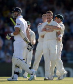 Peter Siddle of Australia celebrates dismissing Kevin Pietersen of England during day two of the Third Ashes Test Match between Australia and England...