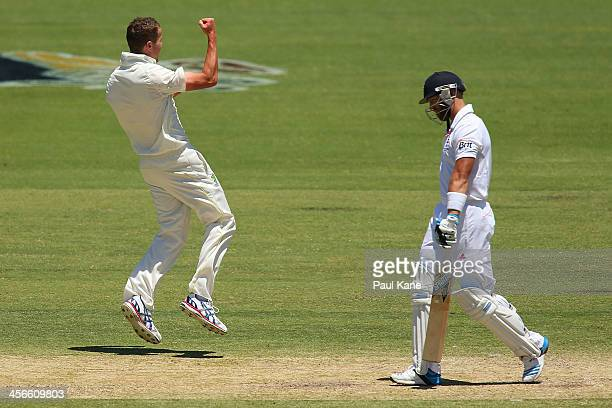 Peter Siddle of Australia celebrates dismissing Matt Prior of England during day three of the Third Ashes Test Match between Australia and England at...