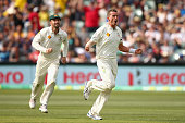 Peter Siddle of Australia celebrates dismissing Ross Taylor of New Zealand during day one of the Third Test match between Australia and New Zealand...