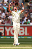 Peter Siddle of Australia celebrates his dismissal of Michael Carberry of England during day three of the Fourth Ashes Test Match between Australia...
