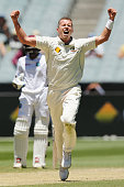 Peter Siddle of Australia celebrates his wicket of Darren Bravo of the West Indies during day four of the Second Test match between Australia and the...