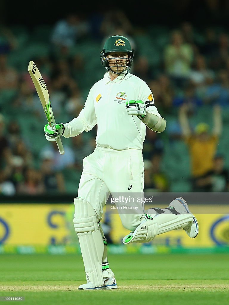 Peter Siddle of Australia celebrates hitting the winning runs during day three of the Third Test match between Australia and New Zealand at Adelaide...