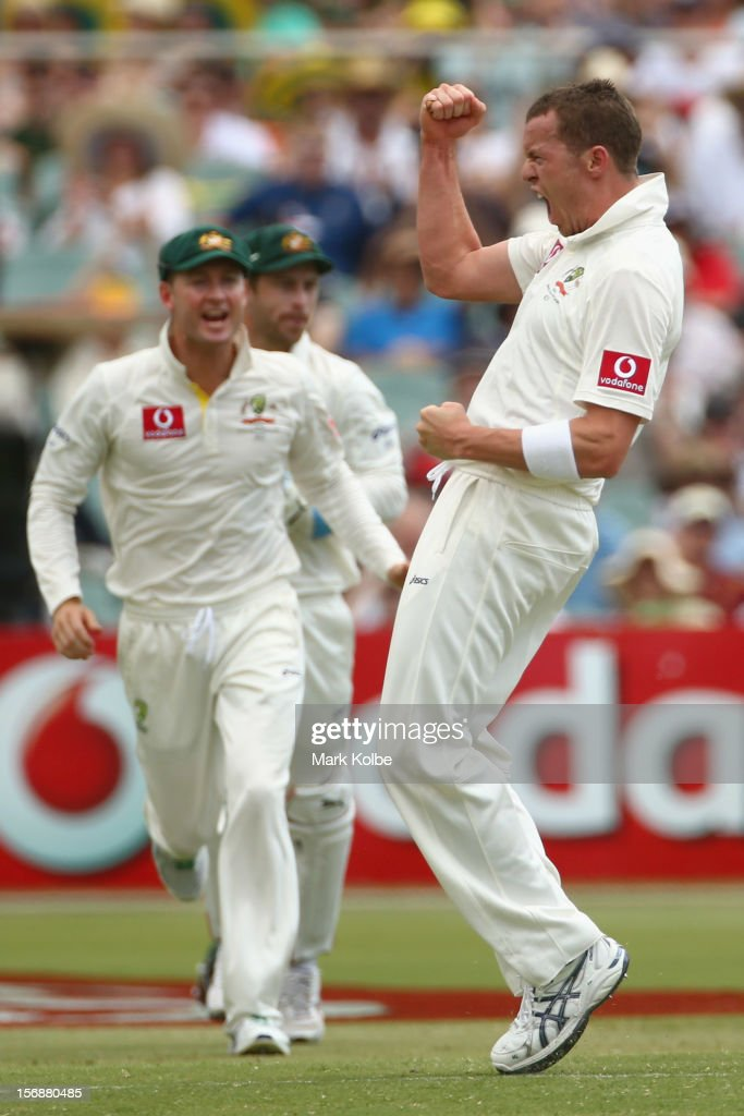 Peter Siddle of Australia celebrates taking the wicket of AB De Villiers of South Africa during day three of the Second Test Match between Australia and South Africa at Adelaide Oval on November 24, 2012 in Adelaide, Australia.