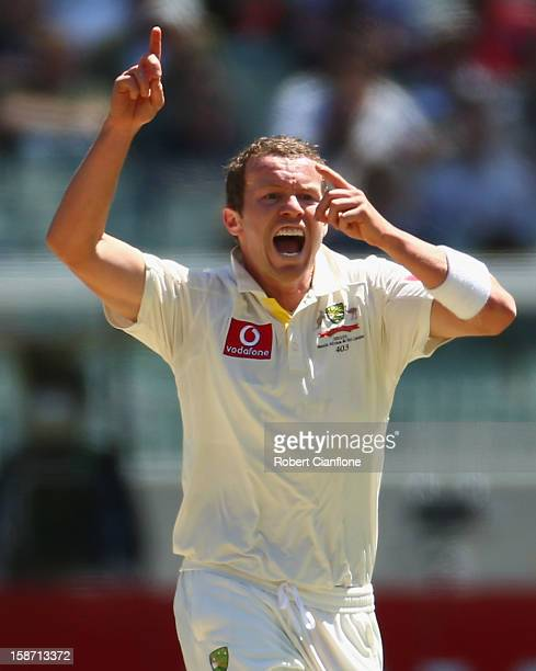 Peter Siddle of Australia celebrates taking the wicket of Mahela Jayawardene of Sri Lanka during day one of the Second Test match between Australia...