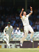 Peter Siddle of Australia celebrates taking the wicket of Matt Prior of England during day three of the Third Ashes Test Match between Australia and...