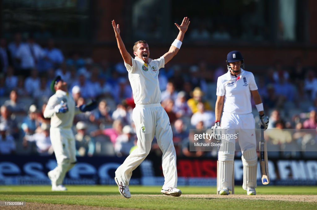 <a gi-track='captionPersonalityLinkClicked' href=/galleries/search?phrase=Peter+Siddle&family=editorial&specificpeople=2104718 ng-click='$event.stopPropagation()'>Peter Siddle</a> of Australia celebrates the wicket of <a gi-track='captionPersonalityLinkClicked' href=/galleries/search?phrase=Joe+Root&family=editorial&specificpeople=6688996 ng-click='$event.stopPropagation()'>Joe Root</a> of England during day two of the 3rd Investec Ashes Test match between England and Australia at Emirates Old Trafford Cricket Ground on August 2, 2013 in Manchester, England.