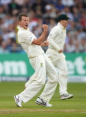 Peter Siddle of Australia celebrates the wicket of Matt Prior of England during day one of the 1st Investec Ashes Test match between England and...