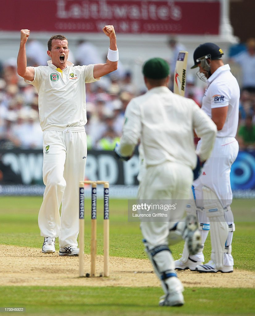 <a gi-track='captionPersonalityLinkClicked' href=/galleries/search?phrase=Peter+Siddle&family=editorial&specificpeople=2104718 ng-click='$event.stopPropagation()'>Peter Siddle</a> of Australia celebrates the wicket of <a gi-track='captionPersonalityLinkClicked' href=/galleries/search?phrase=Matt+Prior+-+Cricket+Player&family=editorial&specificpeople=13652111 ng-click='$event.stopPropagation()'>Matt Prior</a> of England during day three of the 1st Investec Ashes Test match between England and Australia at Trent Bridge Cricket Ground on July 12, 2013 in Nottingham, England.