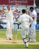 Peter Siddle of Australia celebrates the wicket of Matt Prior of England during day three of the 1st Investec Ashes Test match between England and...