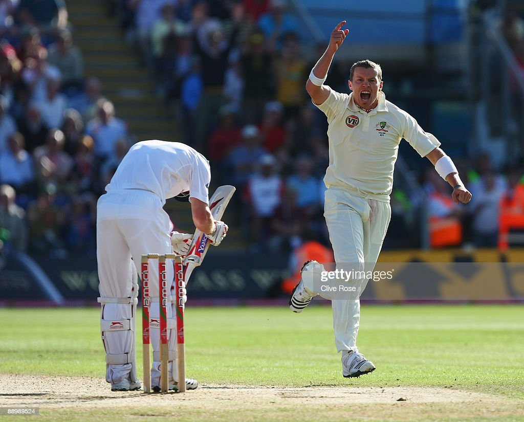 Peter Siddle of Australia celebrates the wicket of Paul Collingwood of England during day five of the npower 1st Ashes Test Match between England and Australia at the SWALEC Stadium on July 12, 2009 in Cardiff, Wales.